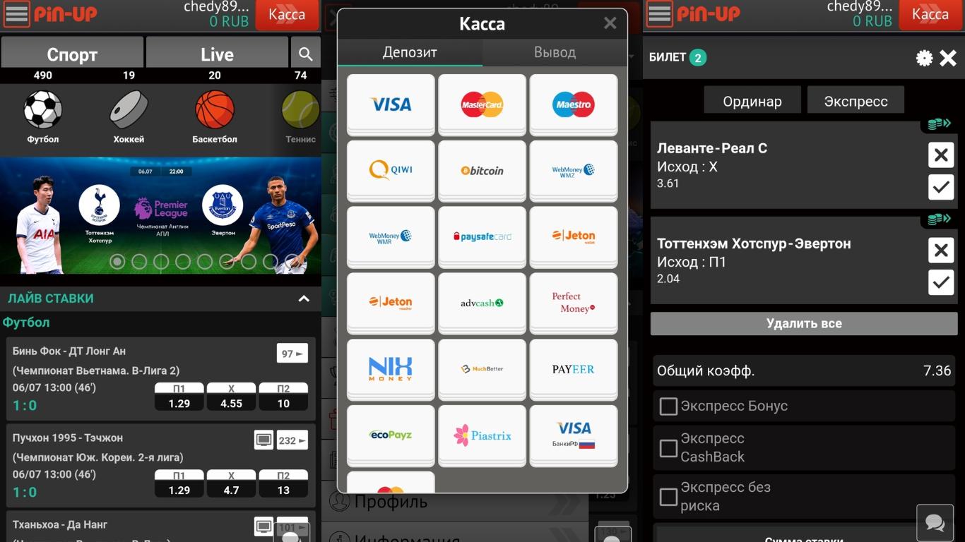 Pin Up ставки на спорт мобильное приложение